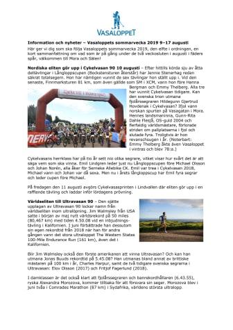 Nyheter och information inför Vasaloppets sommarvecka 2019