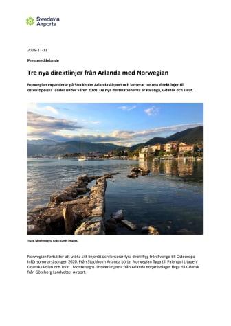 Tre nya direktlinjer från Arlanda med Norwegian