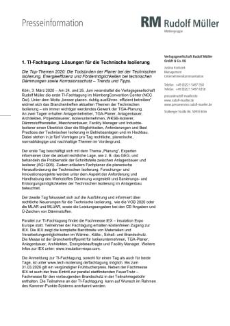 1. TI-Fachtagung: Lösungen für die Technische Isolierung