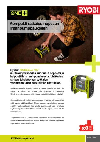 Ryobin® ONE+ -tuoteperheen uusin lisäys on 18V:n multikompressori