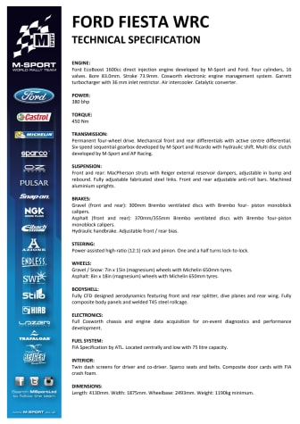 2017 Ford Fiesta WRC Technical Specifications
