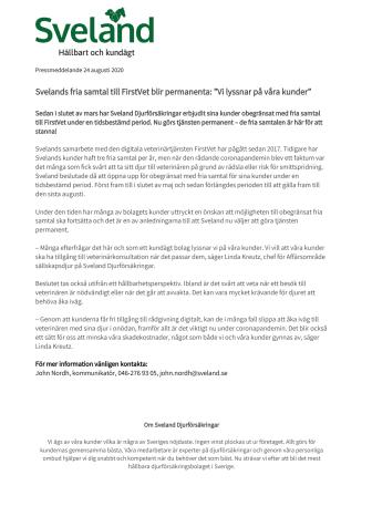 """Svelands fria samtal till FirstVet blir permanenta: """"Vi lyssnar på våra kunder"""""""