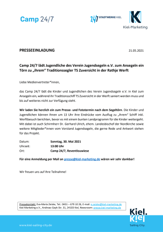 Erinnerung Presseeinladung: Kinder der Zuversicht zum Ansegeln im Camp 24/7