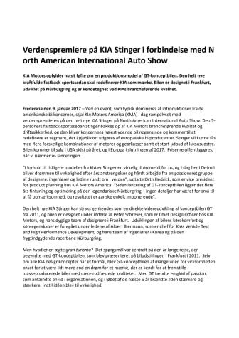 Verdenspremiere på KIA Stinger i forbindelse med North American International Auto Show