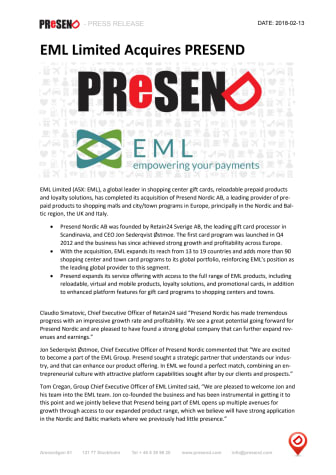 EML Limited Acquires PRESEND