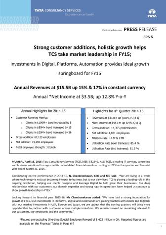 TCS' resultater for regnskapsåret 2015: Vekst i alle markeder og bransjer