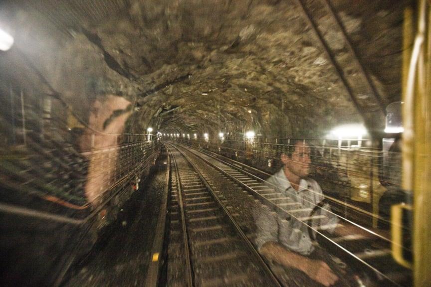 Blivande tunneltågförare under utbildning