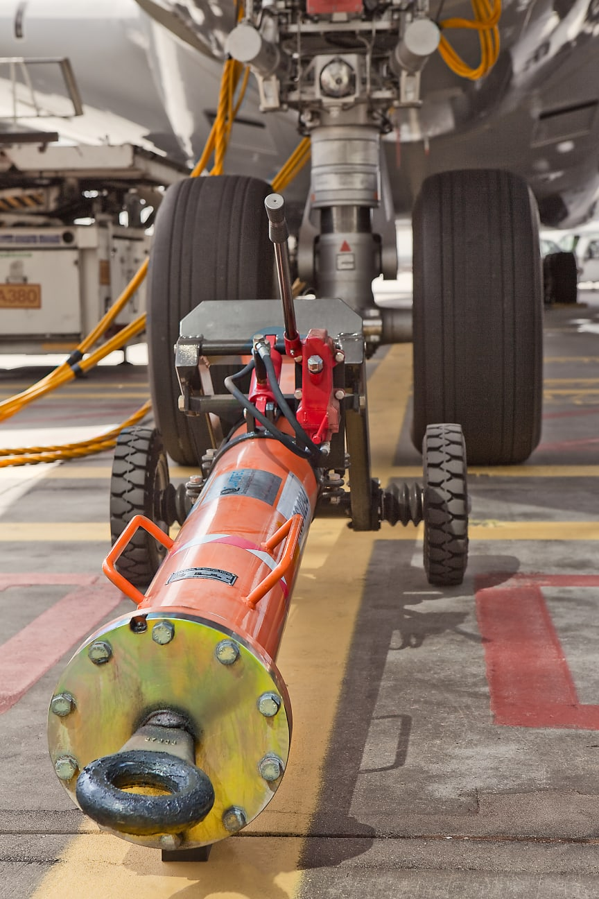 A Cavotec tow bar is used to pull an A380 aircraft at Frankfurt Airport