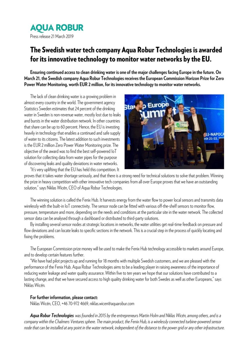 Göteborgsföretag belönas av EU för innovativ produkt i kampen mot vattenläckage
