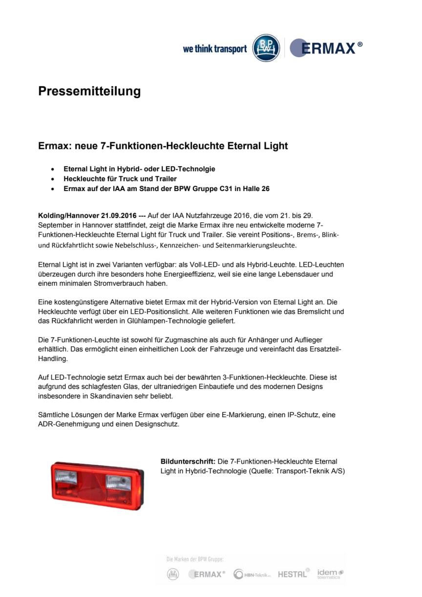 Ermax: neue 7-Funktionen-Heckleuchte Eternal Light