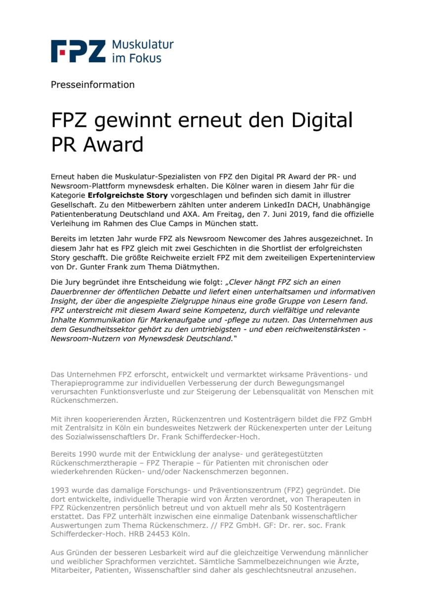 FPZ gewinnt erneut den Digital PR Award   FPZ GmbH
