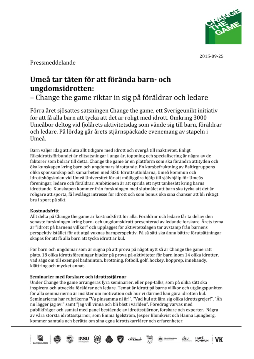Umeå tar täten för att förända barn- och ungdomsidrotten: Change the game riktar in sig på föräldrar och ledare