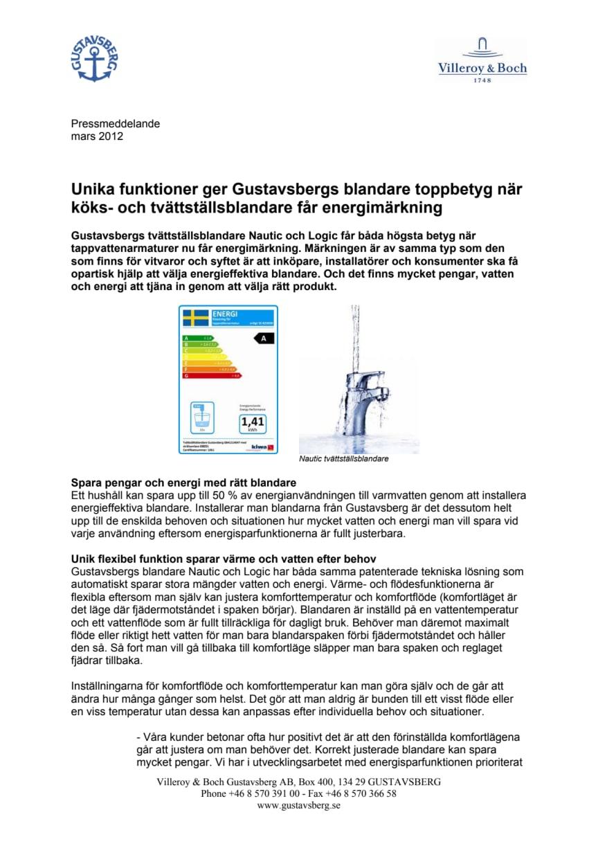 Unika funktioner ger Gustavsbergs blandare toppbetyg när köks- och tvättställsblandare får energimärkning