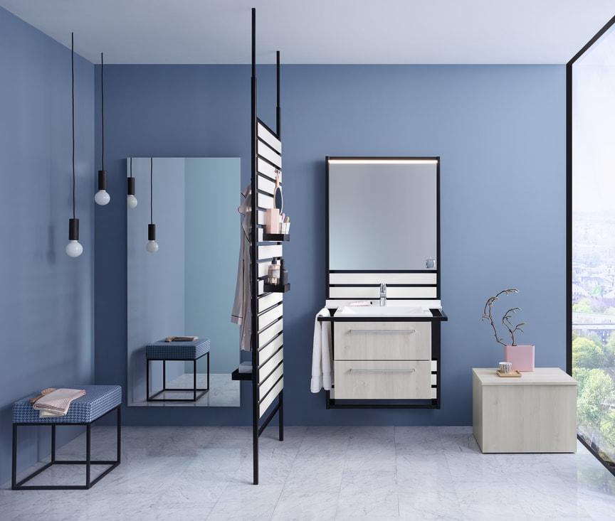 An der Wand entlang oder frei im Raum stehend lässt sich burgbad Flex individuell und flexibel gestalten