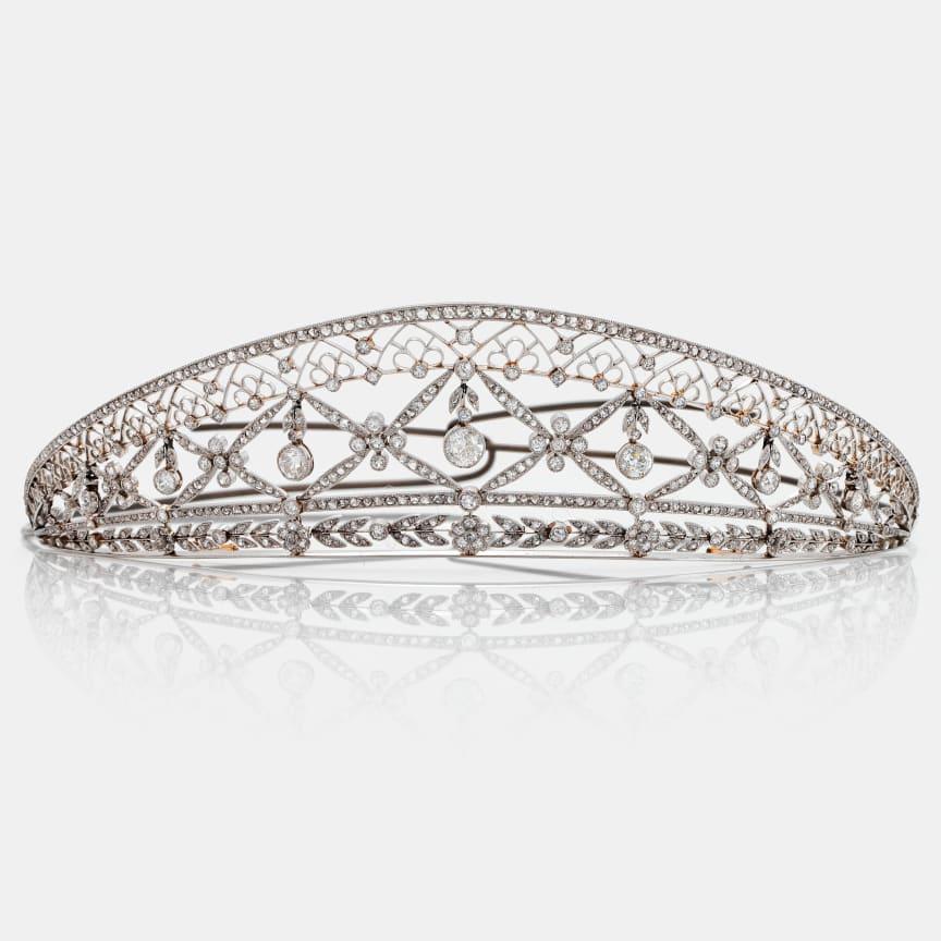 Tiara platina med gammal- och rosenslipade diamanter