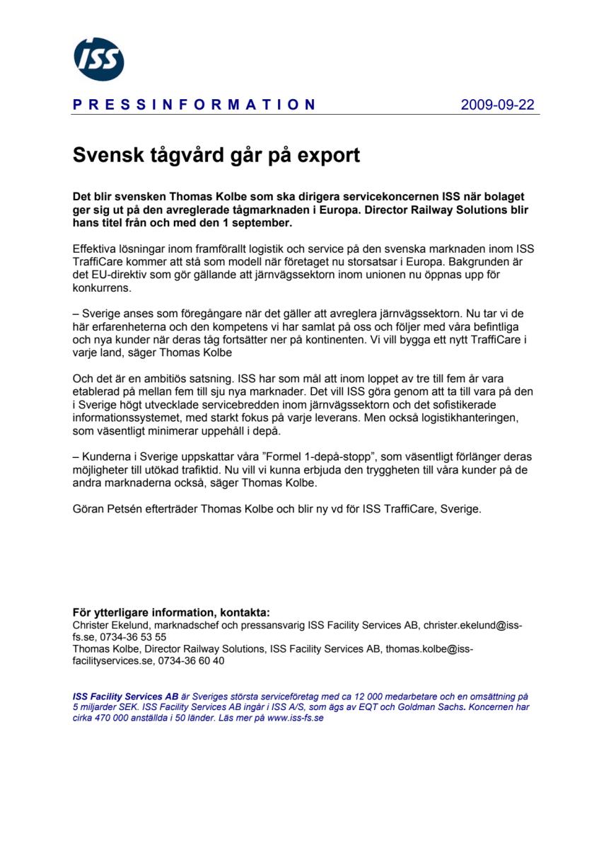 Svensk tågvård går på export