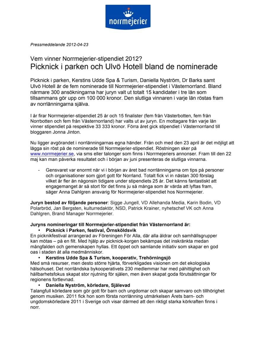 Vem vinner Norrmejerier-stipendiet 2012? Picknick i parken och Ulvö Hotell bland de nominerade