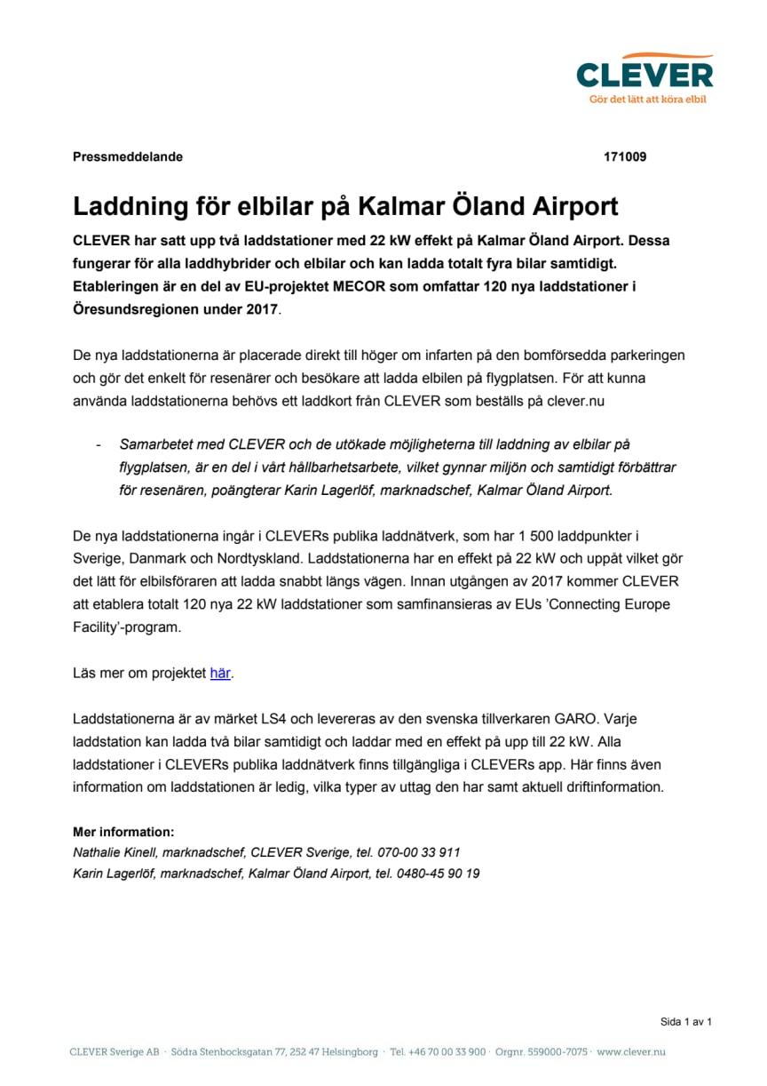 Laddning för elbilar på Kalmar Öland Airport