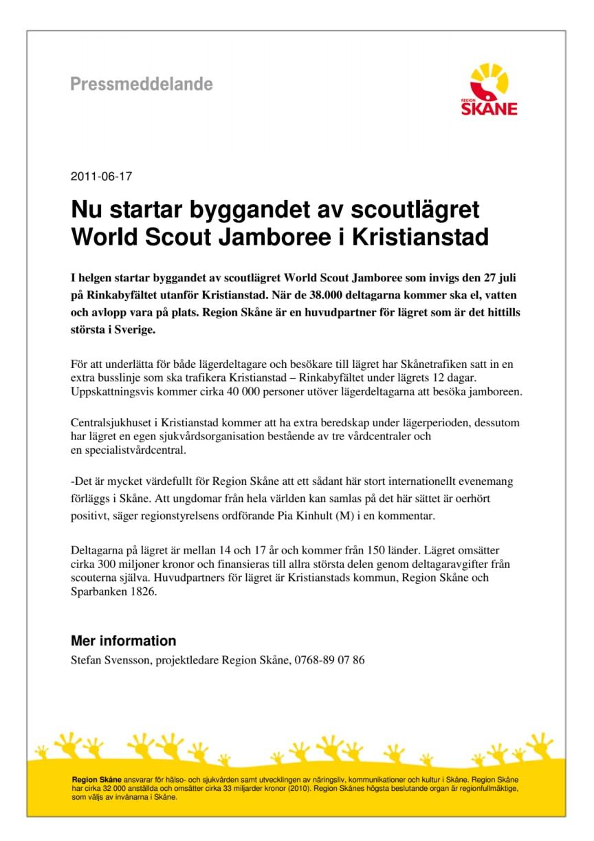 Nu startar byggandet av scoutlägret World Scout Jamboree i Kristianstad