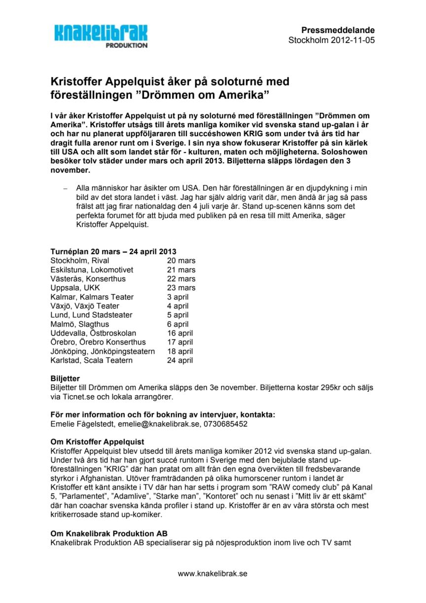 """Kristoffer Appelquist åker på soloturné med föreställningen """"Drömmen om Amerika"""""""