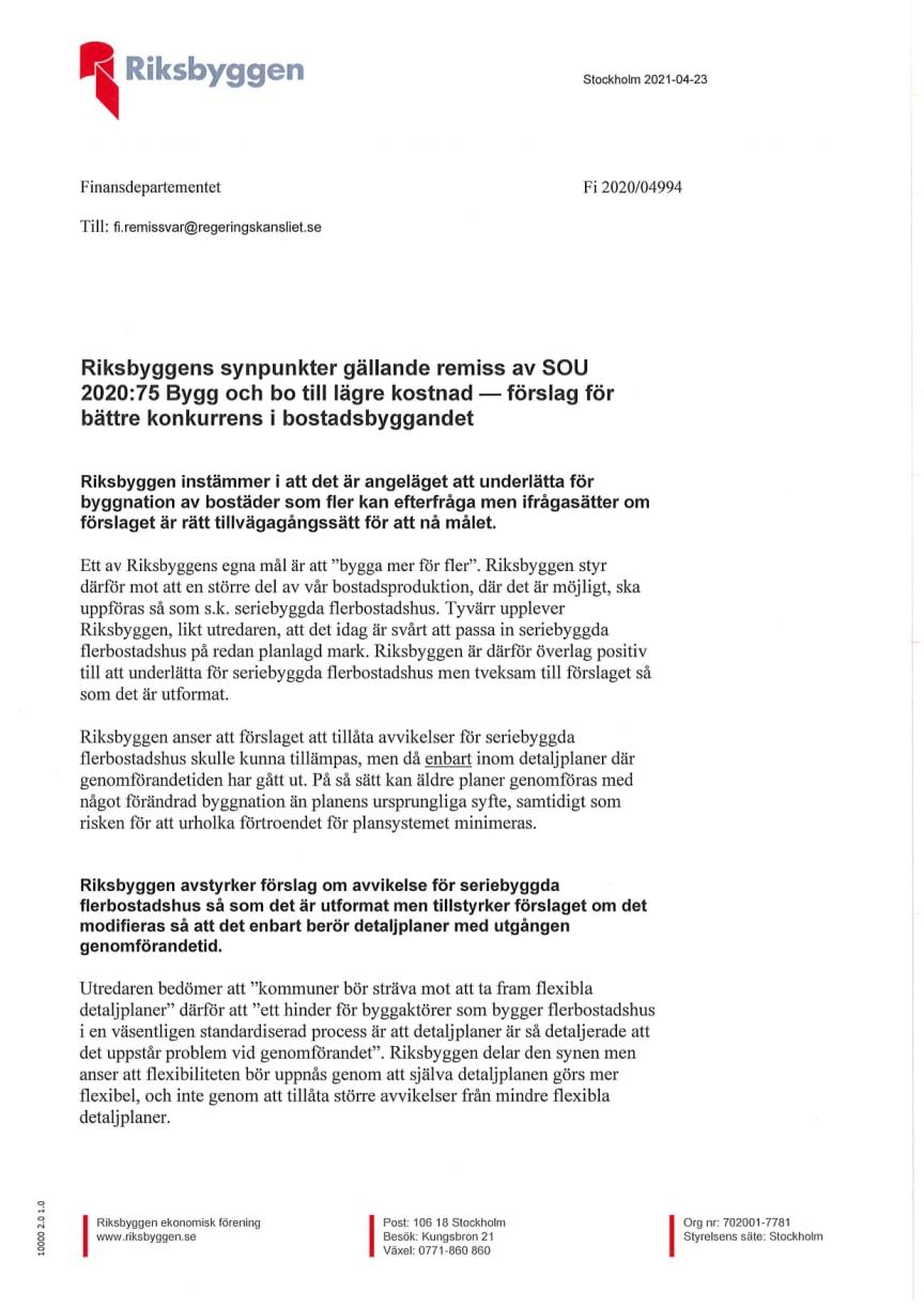 Riksbyggen remissvar av SOU 2020:75
