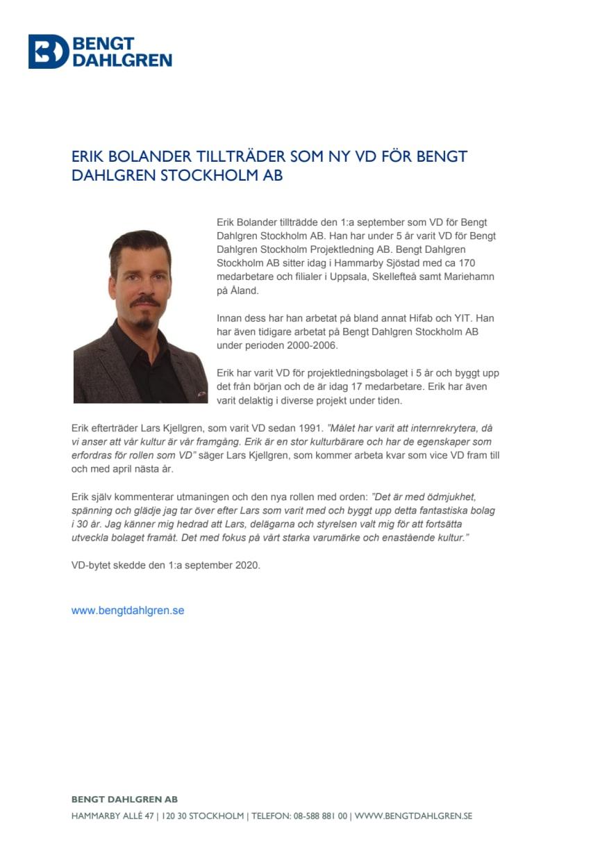 Erik Bolander tillträder som VD för Bengt Dahlgren Stockholm AB