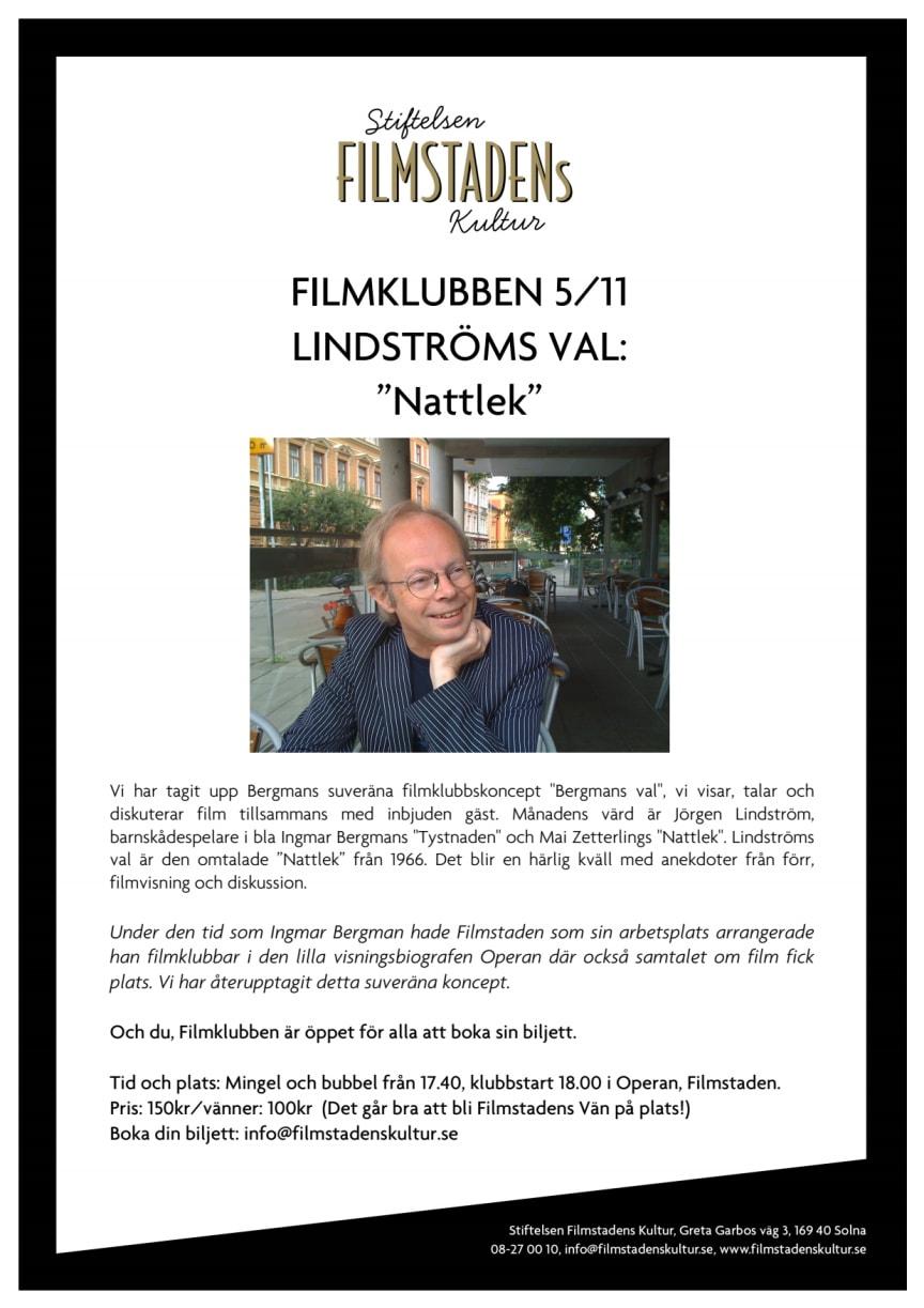 """FILMKLUBBEN 5/11 LINDSTRÖMS VAL: """"Nattlek"""""""