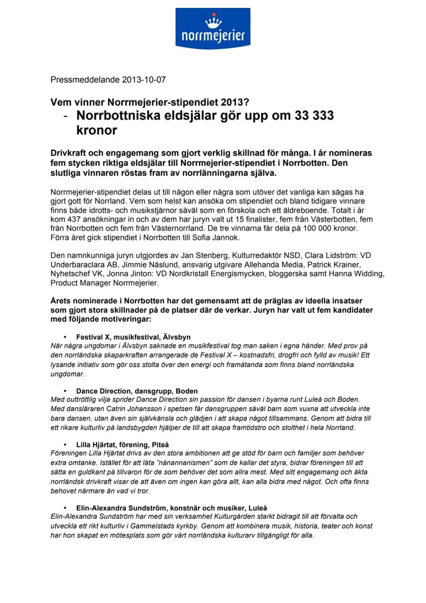 Vem vinner Norrmejerier-stipendiet 2013? -Norrbottniska eldsjälar gör upp om 33 333 kronor