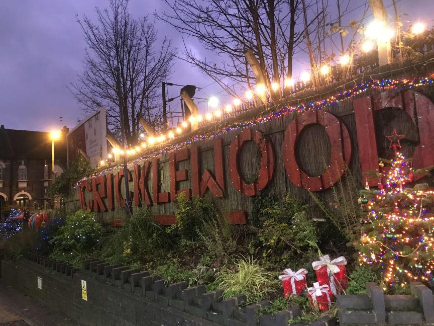 Lit up for Christmas - the lights at Cricklewood station