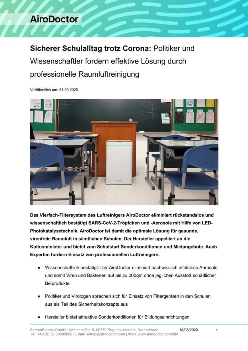 AiroDoctor® PDF Sicherer Schulalltag trotz Corona - effektive Lösung durch professionelle Raumluftreinigung