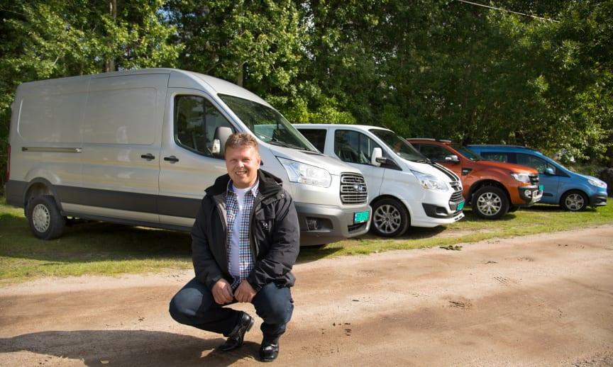 Salgssjef for nyttekjøretøy hos Ford Motor Norge Johnny Løvli er svært fornøyd med salgsveksten av nyttekjøretøy i Norge