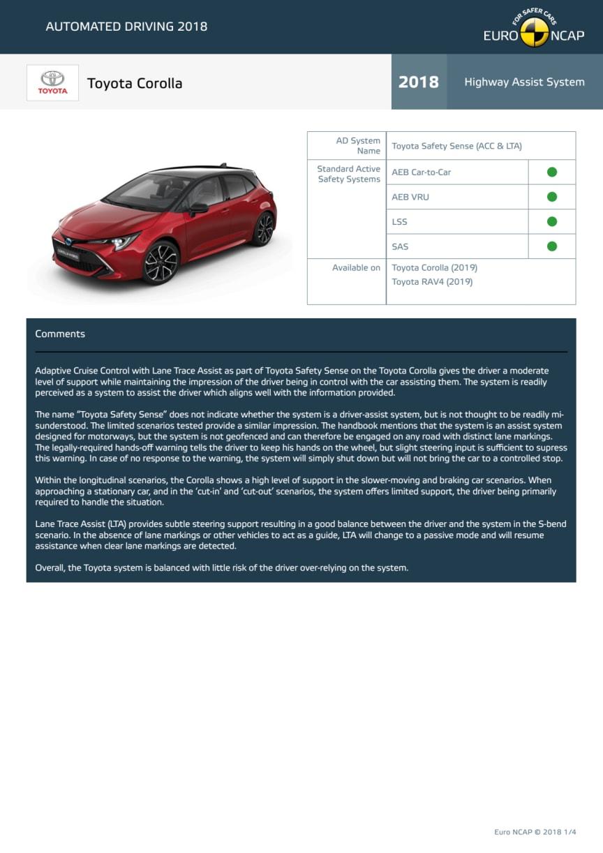 Automated Driving 2018 - Toyota Corolla datasheet - October 2018