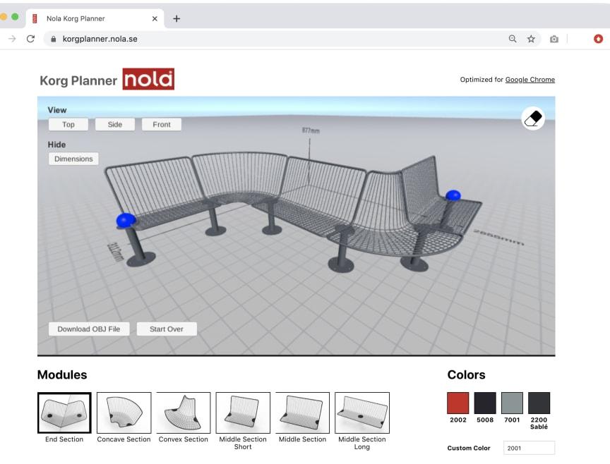 Korg planner, planeringsverktyg för utbyggnad av Korg möbelsystem. Design Thomas Bernstrand.