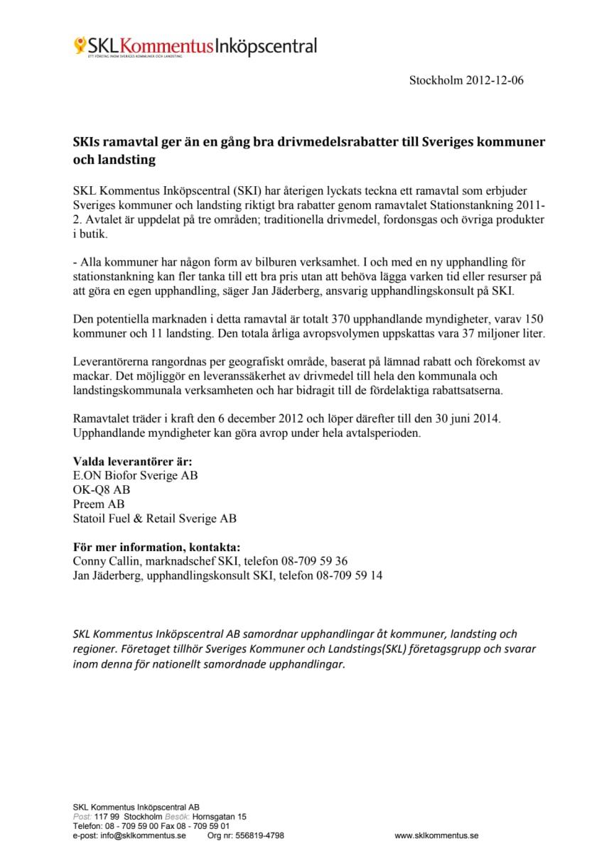 SKIs ramavtal ger än en gång bra drivmedelsrabatter till Sveriges kommuner och landsting