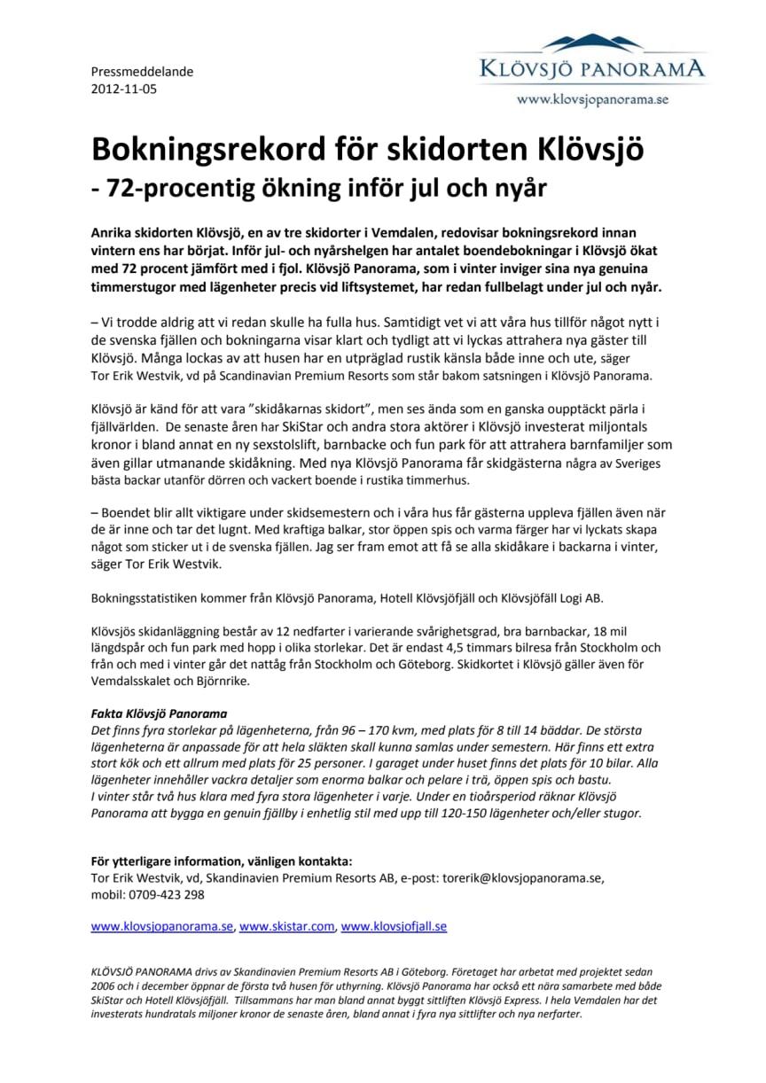 Bokningsrekord för skidorten Klövsjö - 72-procentig ökning inför jul och nyår