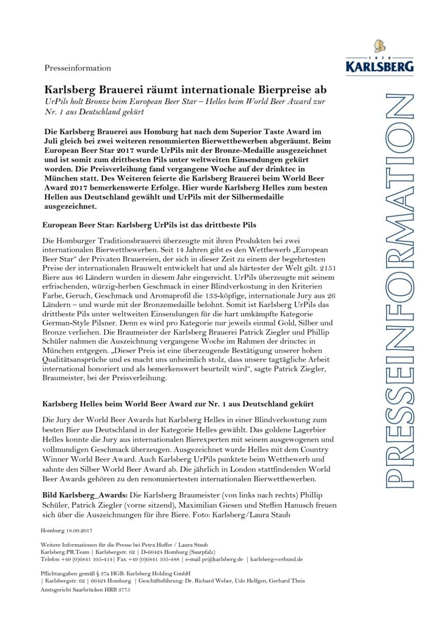 Presseinformation Awards für Helles und UrPils