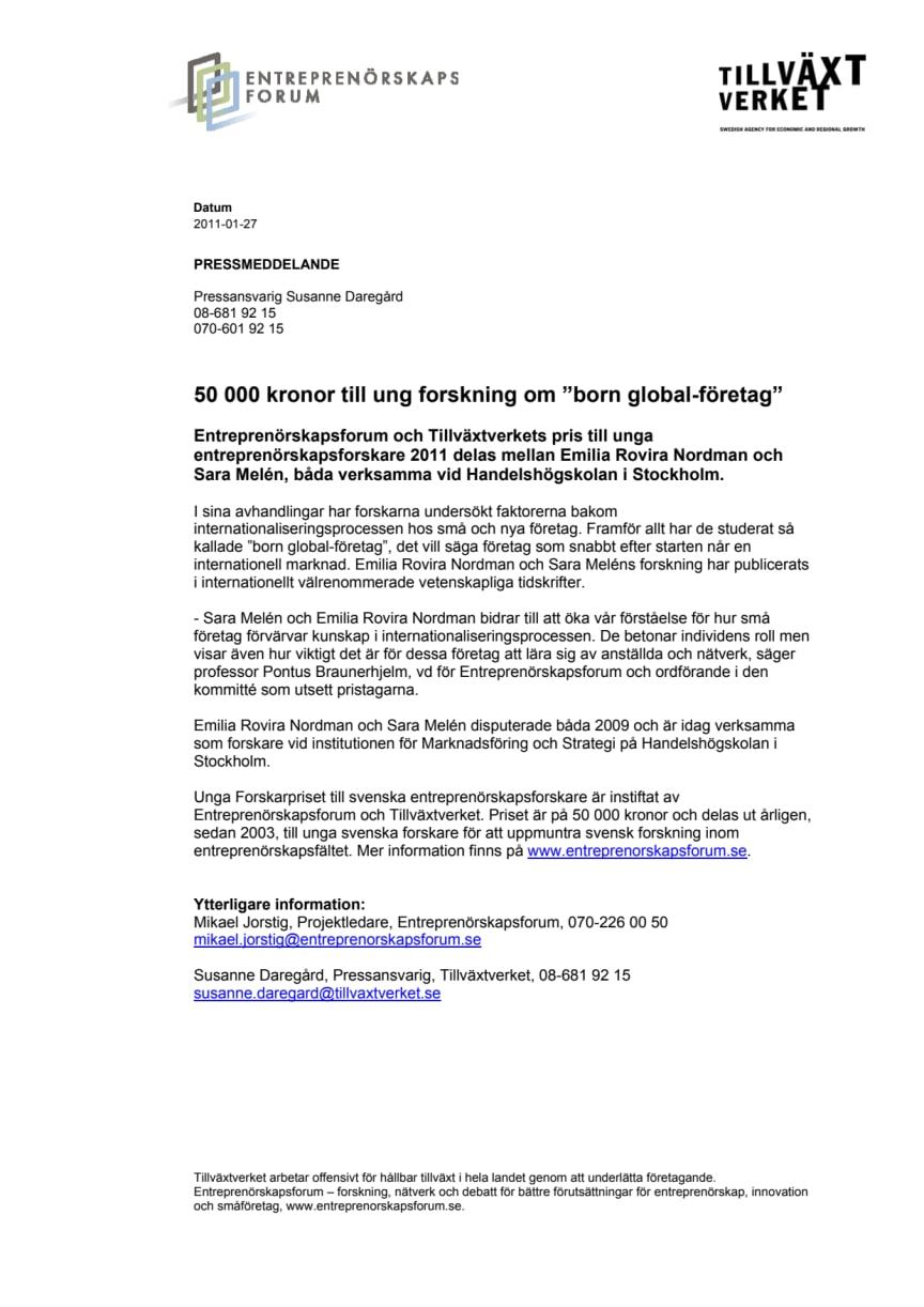 """50 000 kronor till ung forskning om """"born global-företag"""""""