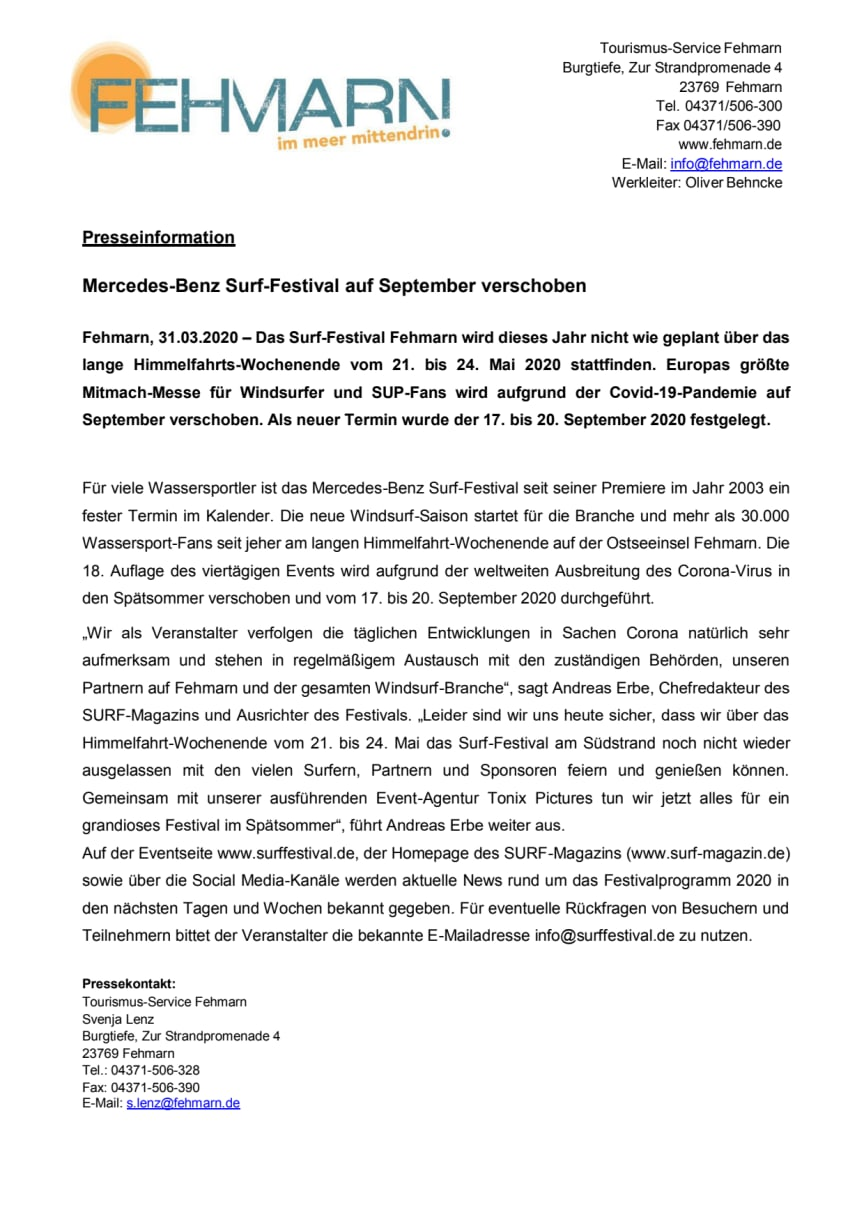 Mercedes-Benz Surf-Festival auf September verschoben