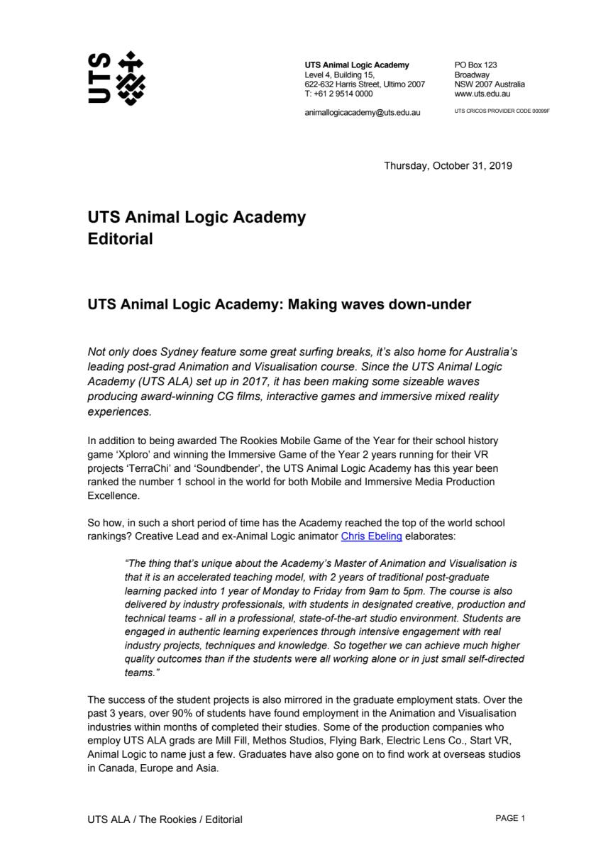 UTS Animal Logic Academy: Making waves down-under