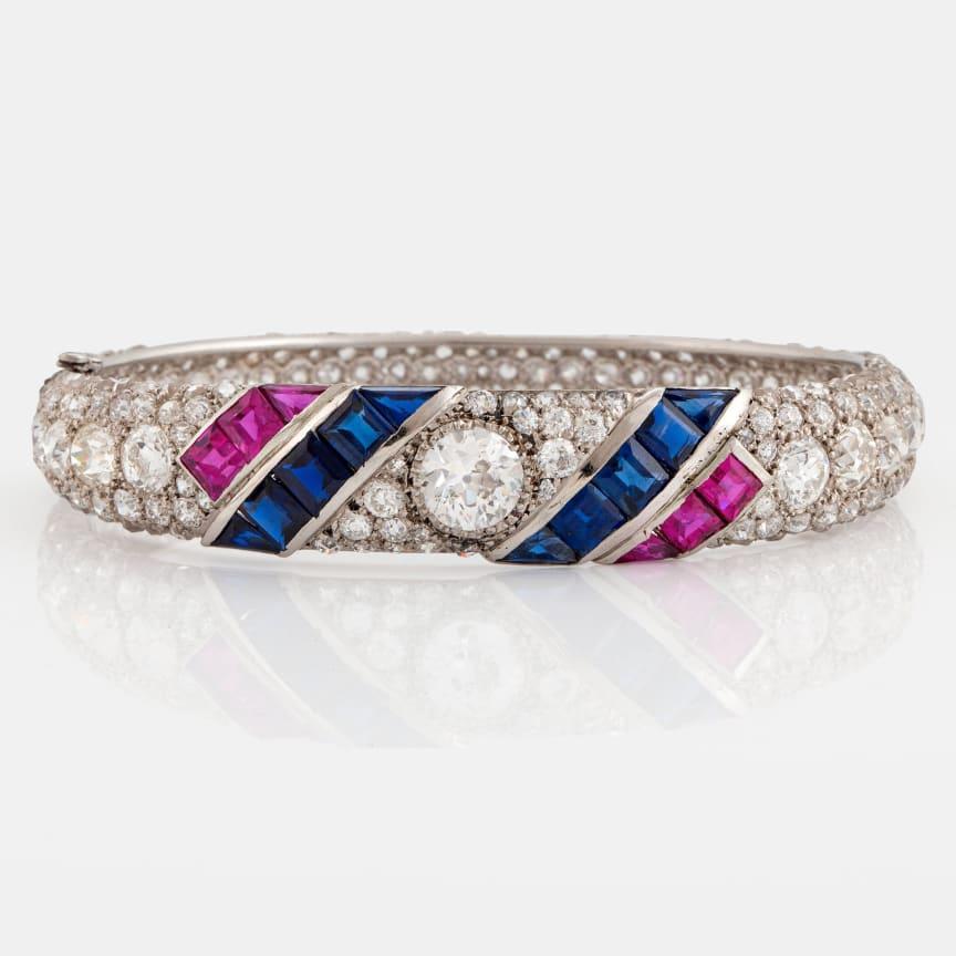 Armring platina med gammal- och rosenslipade diamanter