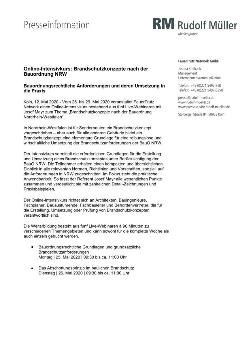 Online-Intensivkurs: Brandschutzkonzepte nach der Bauordnung NRW