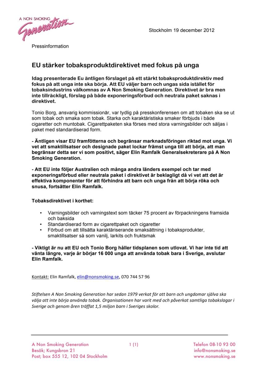 EU stärker tobaksproduktdirektivet med fokus på unga