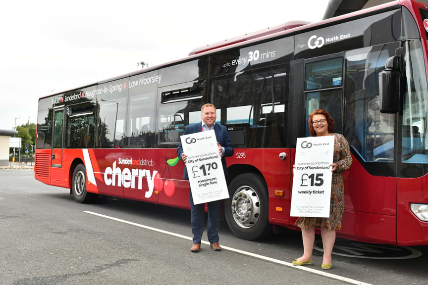 Summer saving fares in Sunderland - Stephen King commercial director at Go North East, with Cllr Rowntree deputy leader of Sunderland City Council.jpg
