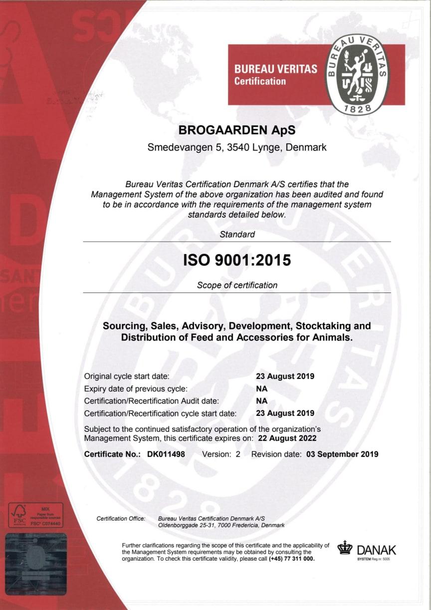 Brogaarden ISO 9001-2015 Certifikat
