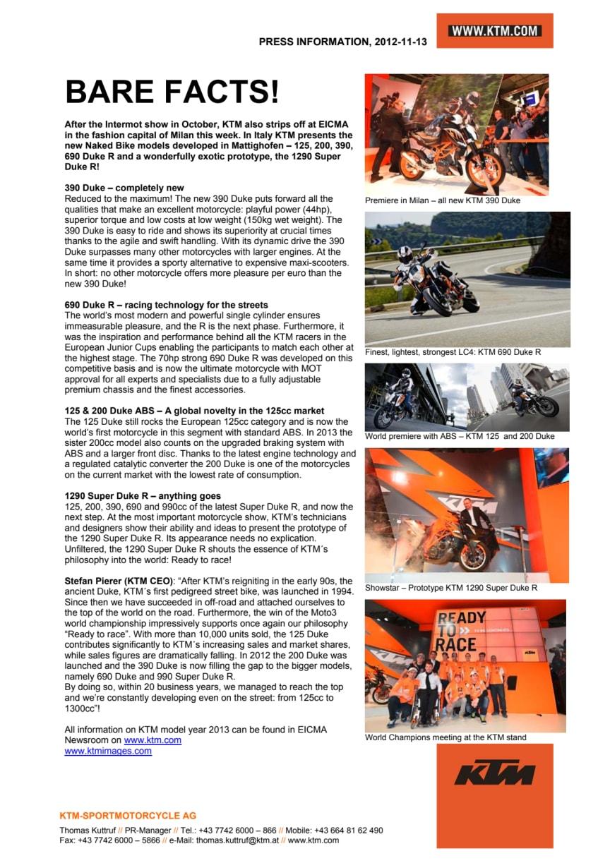 KTM släpper nya motorcykel modeller inför 2013