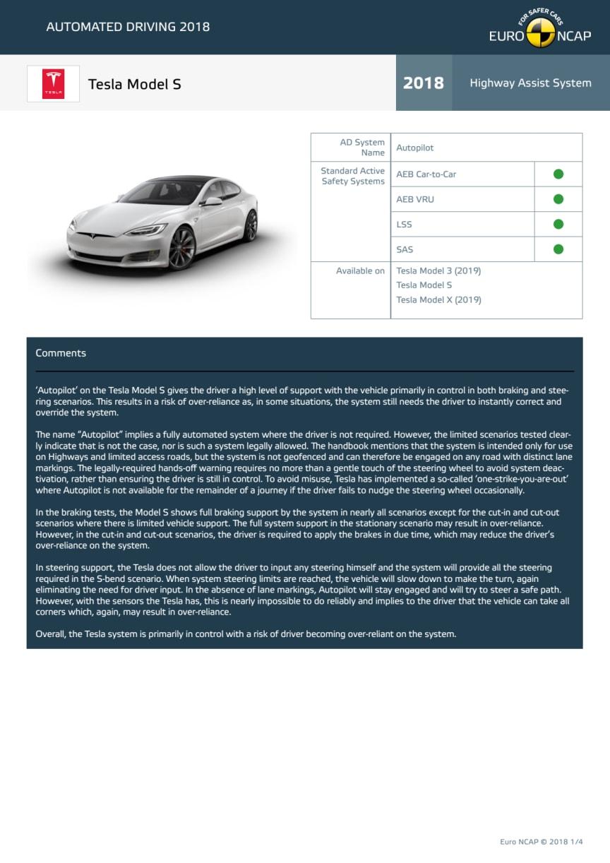 Automated Driving 2018 - Tesla Model S datasheet - October 2018