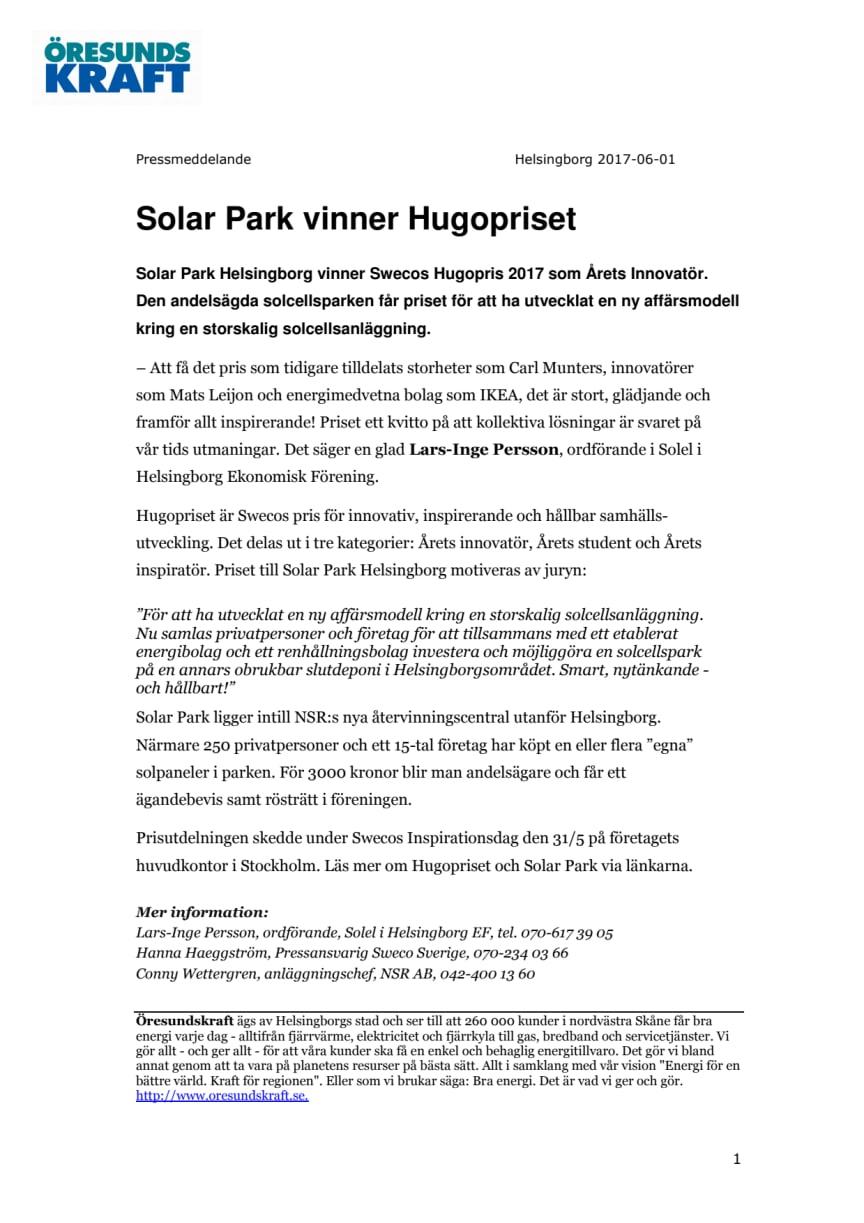 Solar Park vinner Hugopriset 2017