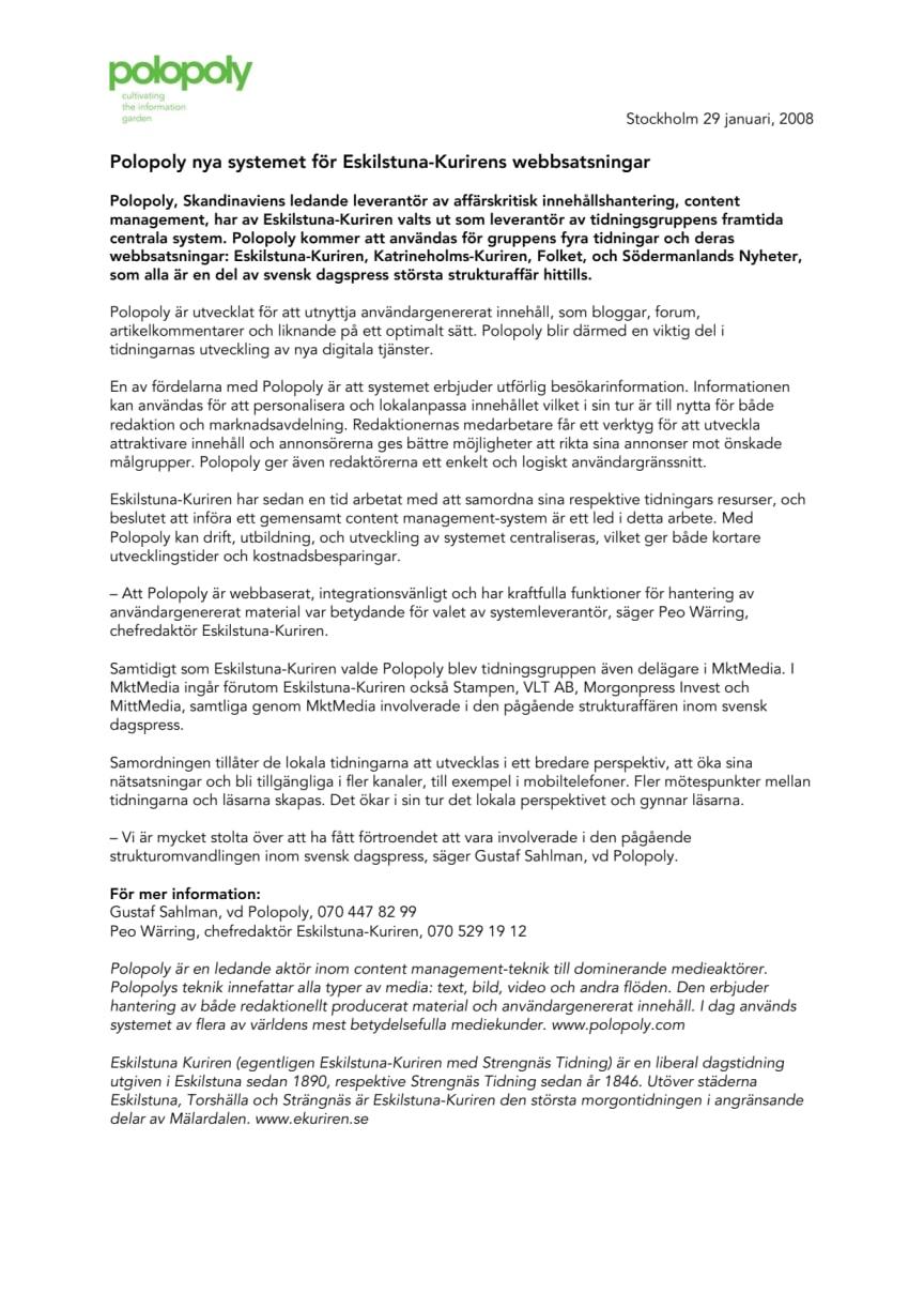 Polopoly nya systemet för Eskilstuna-Kurirens webbsatsningar