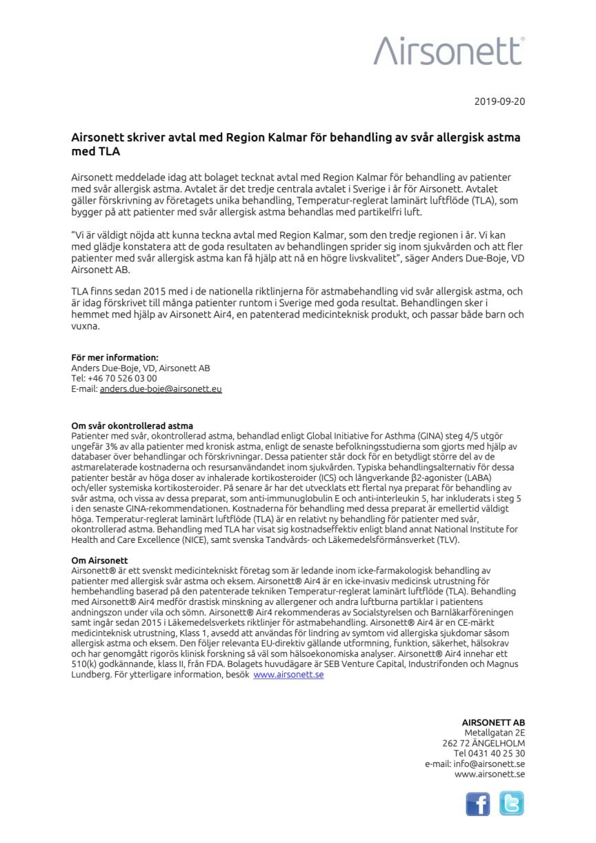 Airsonett skriver avtal med Region Kalmar för behandling av svår allergisk astma med TLA