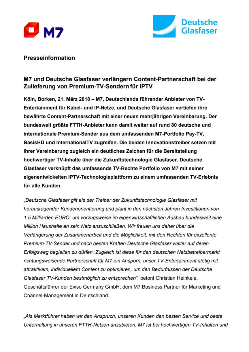 M7 und Deutsche Glasfaser verlängern Content-Partnerschaft bei der Zulieferung von Premium-TV-Sendern für IPTV